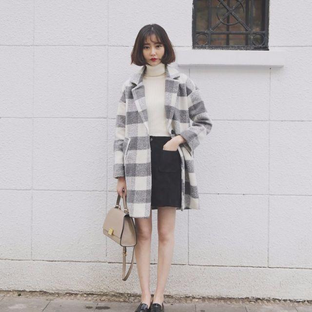 韓國甜美黑白格子夾棉加厚中長款西裝領毛呢子大衣外套女