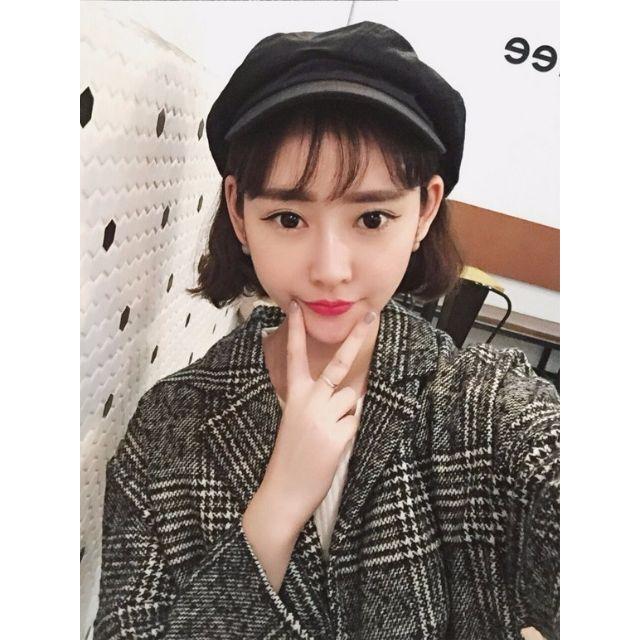 韓國複古格子甜美中長款毛呢子寬鬆大衣外套