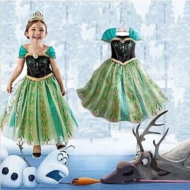 新款童裝女童夏季連衣裙 兒童裙子冰雪奇緣公主裙聖誕節演出禮服
