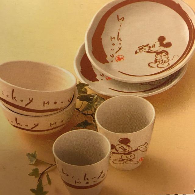 迪士尼 米奇 餐具組 杯子 盤子 碗