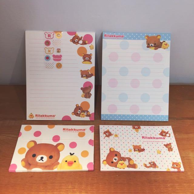 懶懶熊 Rilakkuma 信封 便條紙 貼紙 超值組合