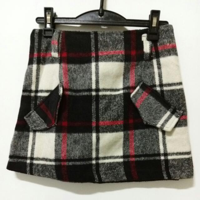 毛料格子短裙 (S)全新