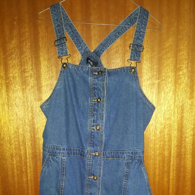 Dotti Bnwt Denim Overall Button Up Dress