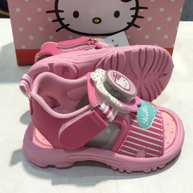 Hello Kitty 童電燈動運式涼鞋-桃