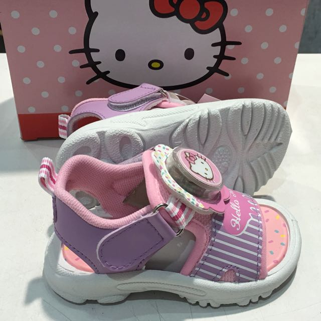 Hello Kitty 童電燈動運式涼鞋-紫