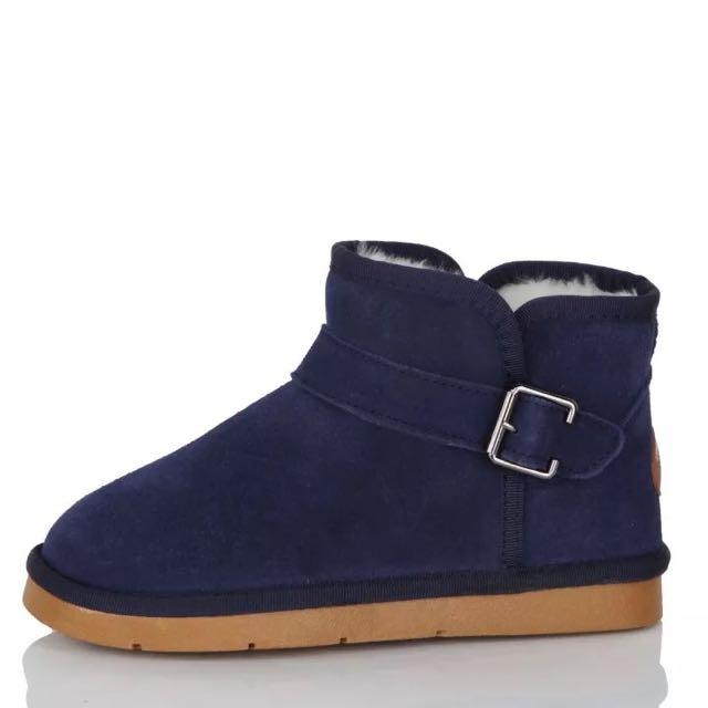iccasu真皮側釦牛筋底雪靴