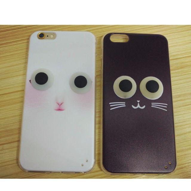 Iphone6s/plus 黑白凸眼貓咪手機殼
