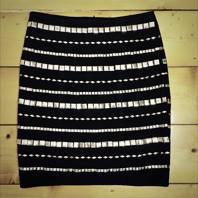 Minty Meets Munt Black Sexy Studded Mini Skirt Size Small AU 8