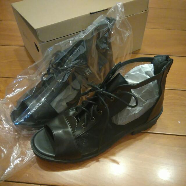 🆕🆕🆕全新MIT 黑色平底側邊薄紗涼鞋
