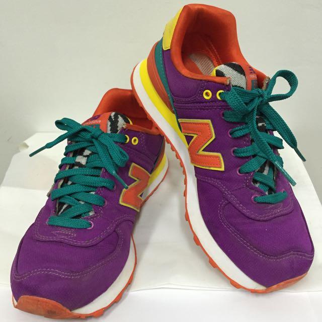 ((降價)) NEW BALANCE 574 經典款斑馬紋紫運動鞋 23.5