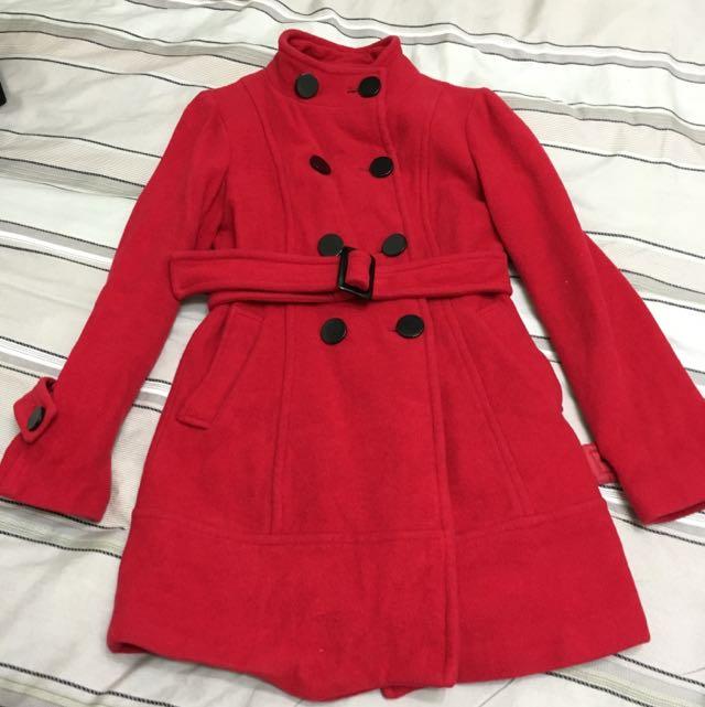 NUEE長版紅大衣