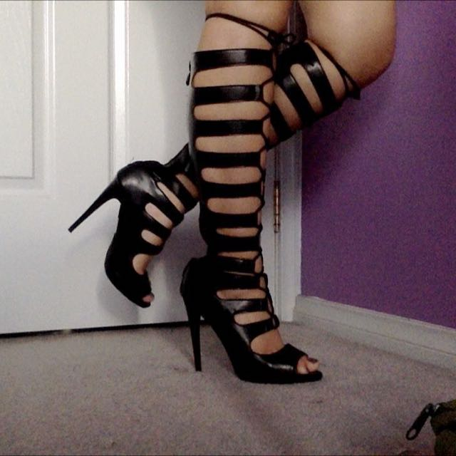 PUBLIC DESIRE LACE UP STILETTOS