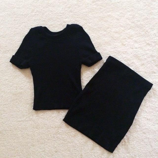 Ribbed Black Co-Ord Set