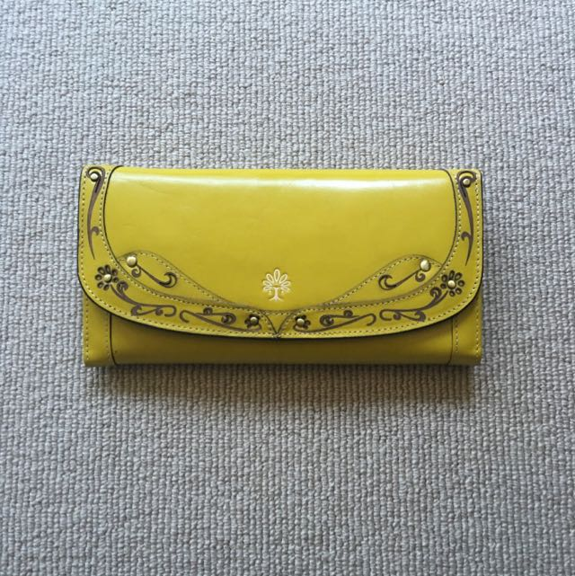 Star Town Vintage Hand Made Leather Purse (Yellow)