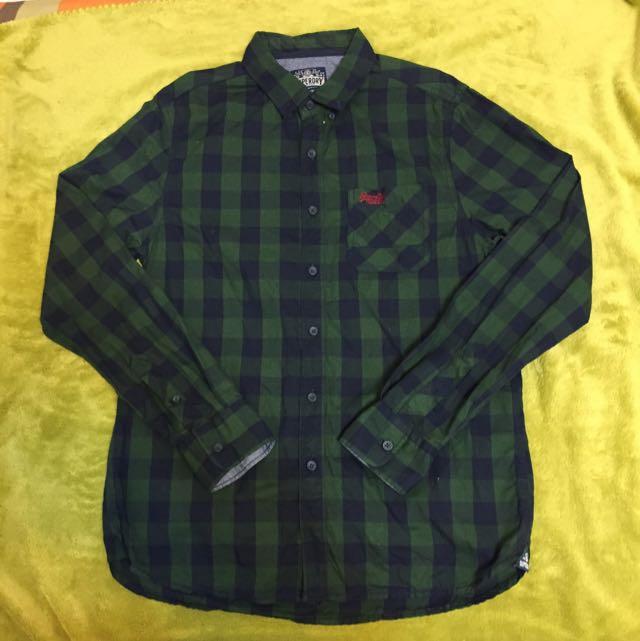 (降價)Superdry 綠黑格紋長袖襯衫 M號