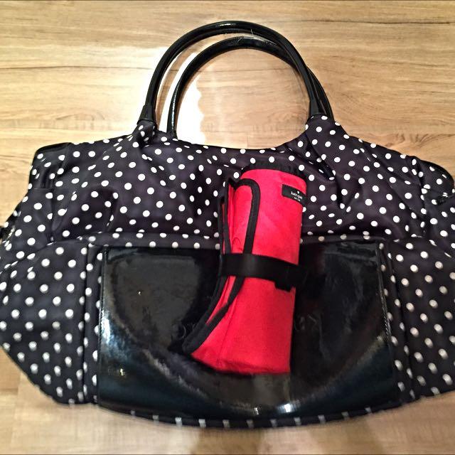 Used Like New Kate Spade Stevie Baby Bag Spot Nylon Black Diaper Babies Kids On Carou