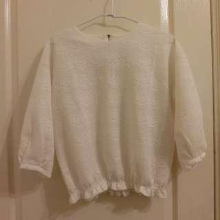 蕾絲 短版 白色 上衣