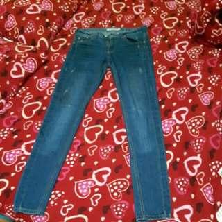 貓爪星星刺繡彈性牛仔褲