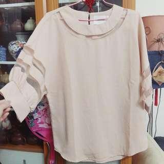 粉色5分袖雪紡上衣