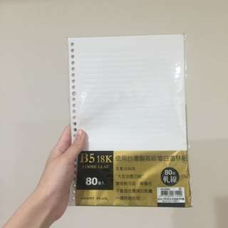 B5 18k 洞洞筆記本內頁紙