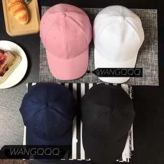 素色 粉色鴨舌帽 老帽 棒球帽