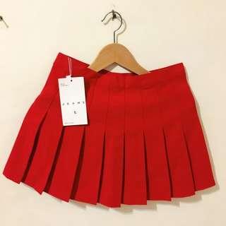 全新😍超可愛百褶小紅裙L