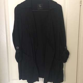 Black Open Coat Size Medium