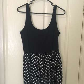 Low Black Contrast Black And Polka Dot Playsuit Size L