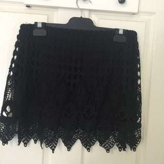 Size 12 Black Crochet Overlay Mini Skirt
