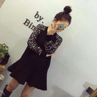 BN Sequin Design Sleeve Black Dress