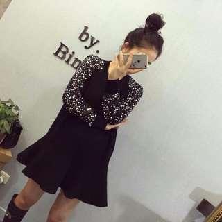 BN Sequin Design Sleeve Black Dress
