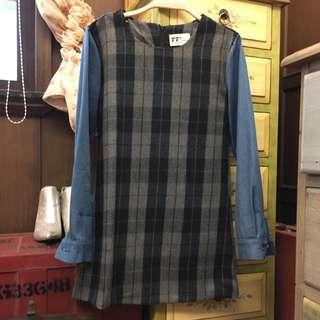 格子毛料拼接洋裝