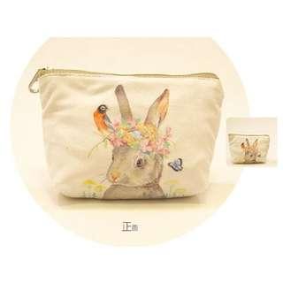(可換物)小兔文藝仿几皮梯形零錢包