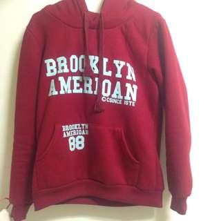 紅色百搭帽T Brooklyn 厚 棉T