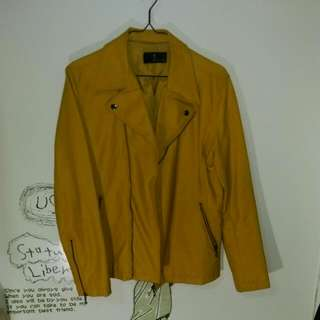 日本zip芥末黃騎士皮外套
