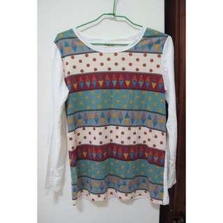(Sadon山東古著店購入)幾何圖形棉質上衣
