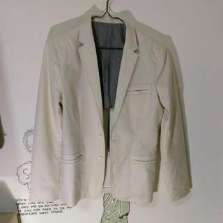 Plain-me米白色西裝外套