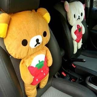 拉拉熊 懶懶熊 輕鬆小熊趴趴熊 汽車靠墊/座椅墊車座套/4款可愛棕熊哥哥 米熊妹妹 大椅墊 50*38公分 抱枕
