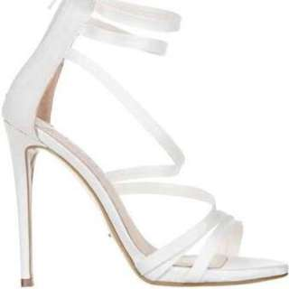 Tony Bianco White Satin Heels