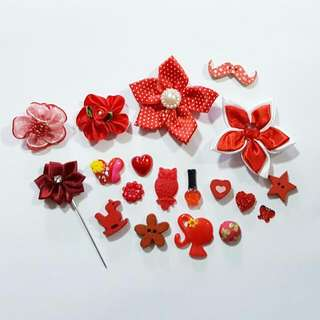 $1 Red Flower Series Brooch / Red Series Collection