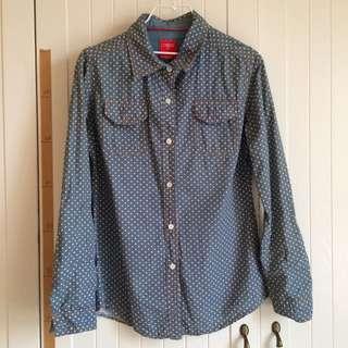 Caco牛仔單寧六角星口袋長袖襯衫