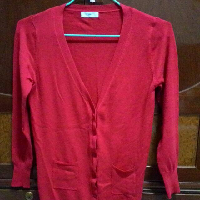 薄款紅色針織外套