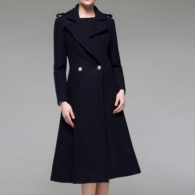 👑空姐風藏青色羊毛傘狀大衣
