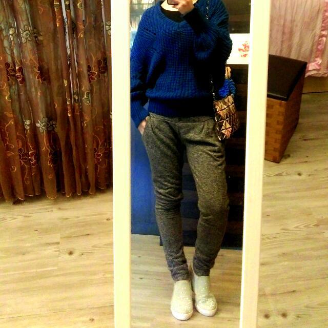 非常新 藍色針織衫 飛鼠袖時尚款