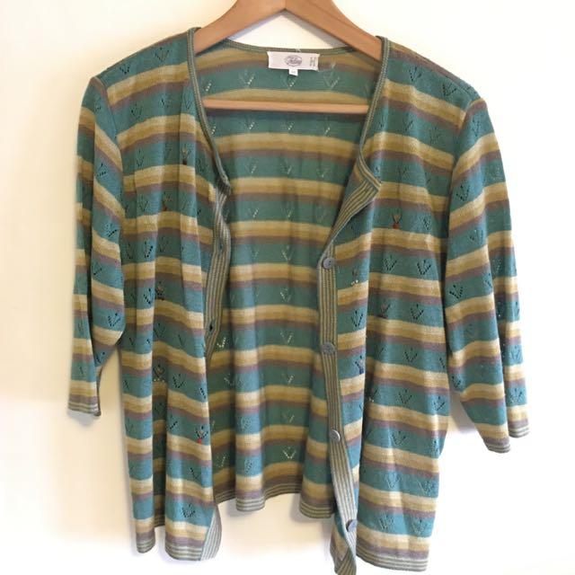 二手🔸針織 條紋 九分袖 小外套