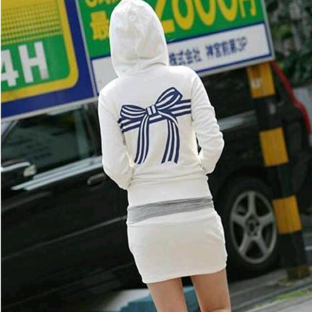純棉運動套裝 連帽外套+口袋裙