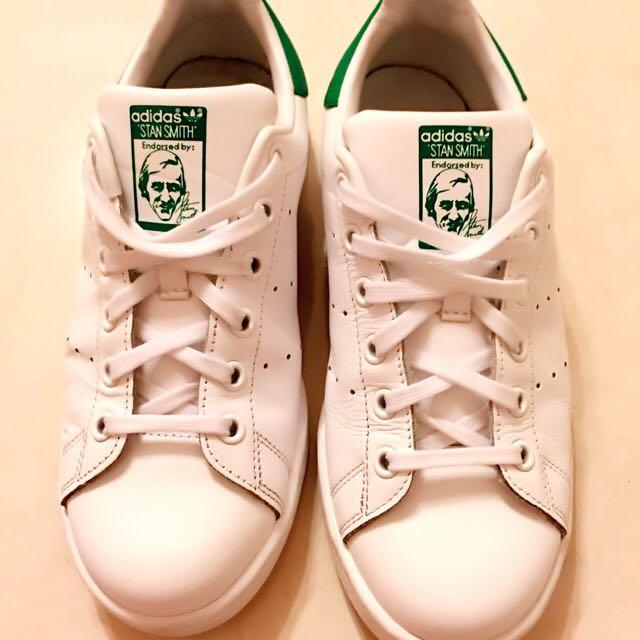 (保留)adidas stan smith 白綠 23.5