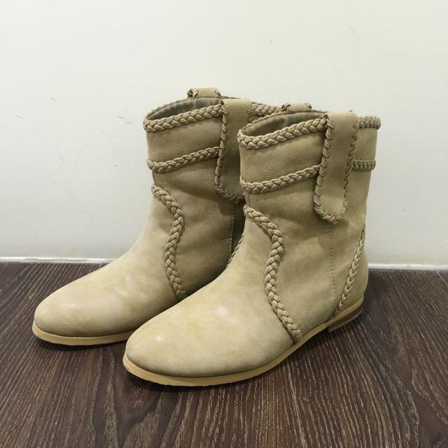 Amai短靴✨編織麻花/淺杏卡其色/復古刷色-36