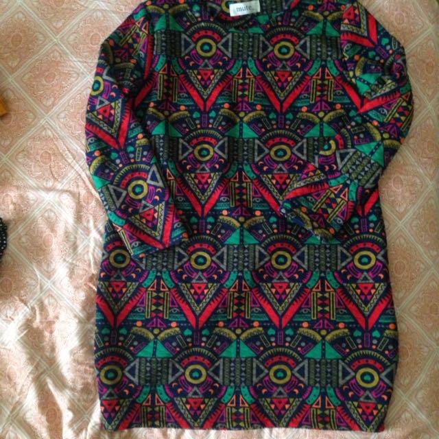 Geometric Patterned Long Sleeve Smock Style Dress Size 8,10,12