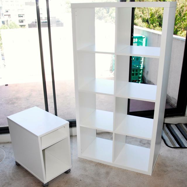 IKEA White Bookcase and Bedside Table
